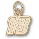 "Kyle Busch Small Driver Number ""18"" 3/8"" Charm - 14KT Gold Jewelry"