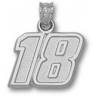 "Kyle Busch Medium Driver Number ""18"" 1/2"" Pendant - Sterling Silver Jewelry"