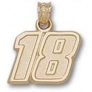 "Kyle Busch Medium Driver Number ""18"" 1/2"" Pendant - 14KT Gold Jewelry"