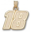 """Kyle Busch Large Driver Number """"18"""" 5/8"""" Pendant - 14KT Gold Jewelry"""