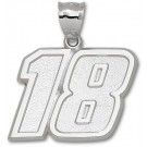 "Kyle Busch Giant Driver Number ""18"" 1 1/2"" Pendant - Sterling Silver Jewelry"