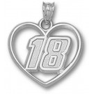 "Kyle Busch Driver Number ""18"" Heart Pendant - Sterling Silver Jewelry"