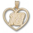 """Kyle Busch Driver Number """"18"""" Heart Pendant - 14KT Gold Jewelry"""