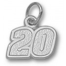 "Joey Logano Small Driver Number ""20"" 3/8"" Charm - Sterling Silver Jewelry"