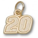"Joey Logano Small Driver Number ""20"" 3/8"" Charm - 14KT Gold Jewelry"