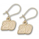 "Joey Logano 5/16"" Small #20 Dangle Earrings - 10KT Gold Jewelry"