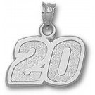 "Joey Logano Medium Driver Number ""20"" 1/2"" Pendant - Sterling Silver Jewelry"