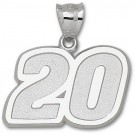"""Joey Logano Giant Driver Number """"20"""" 1 1/2"""" Pendant - Sterling Silver Jewelry"""