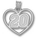 "Joey Logano Driver Number ""20"" Heart Pendant - Sterling Silver Jewelry"