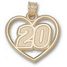 """Joey Logano Driver Number """"20"""" Heart Pendant - 14KT Gold Jewelry"""