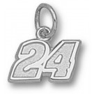 "Jeff Gordon Small Driver Number ""24"" 1/4"" Charm - Sterling Silver Jewelry"