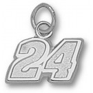 "Jeff Gordon Small Driver Number ""24"" 5/16"" Charm - Sterling Silver Jewelry"