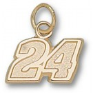 "Jeff Gordon Small Driver Number ""24"" 5/16"" Charm - 14KT Gold Jewelry"