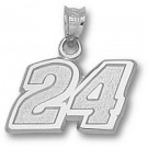 "Jeff Gordon Medium Driver Number ""24"" 7/16"" Pendant - Sterling Silver Jewelry"