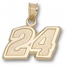 "Jeff Gordon Medium Driver Number ""24"" 7/16"" Pendant - 14KT Gold Jewelry"