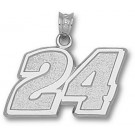 "Jeff Gordon Large Driver Number ""24"" 9/16"" Pendant - Sterling Silver Jewelry"