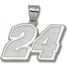 "Jeff Gordon Giant Driver Number ""24"" 1 1/16"" Pendant - Sterling Silver Jewelry"