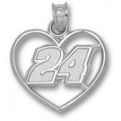 "Jeff Gordon Driver Number ""24"" Heart Pendant - Sterling Silver Jewelry"