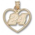 "Jeff Gordon Driver Number ""24"" Heart Pendant - 14KT Gold Jewelry"