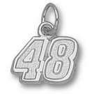 "Jimmie Johnson Small Driver Number ""48"" 3/8"" Charm - Sterling Silver Jewelry"