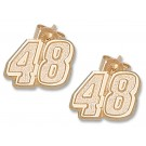 """Jimmie Johnson 5/16"""" Small #48 Post Earrings - 10KT Gold Jewelry"""