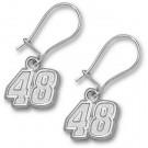 """Jimmie Johnson 5/16"""" Small #48 Dangle Earrings - Sterling Silver Jewelry"""