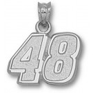 "Jimmie Johnson Medium Driver Number ""48"" 1/2"" Pendant - Sterling Silver Jewelry"
