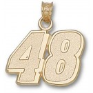 """Jimmie Johnson Large Driver Number """"48"""" 5/8"""" Pendant - 14KT Gold Jewelry"""