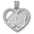 "Jimmie Johnson Driver Number ""48"" Heart Pendant - Sterling Silver Jewelry"