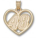 "Jimmie Johnson Driver Number ""48"" Heart Pendant - 14KT Gold Jewelry"