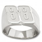 "Dale Earnhardt Jr. 9/16"" Medium Driver Number ""88"" Men's Ring (Size 10) - Sterling Silver Jewelry"