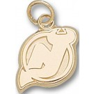 "New Jersey Devils 3/8"" ""NJ"" Charm - 10KT Gold Jewelry"
