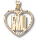 "Florida A & M Rattlers ""FAMU"" Heart Pendant - 14KT Gold Jewelry"