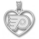 """Philadelphia Flyers """"P Heart"""" Pendant - Sterling Silver Jewelry"""