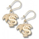 "Florida State Seminoles 1/2"" ""FS with Feather"" Dangle Earrings - 10KT Gold Jewelry"