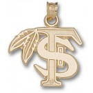 """Florida State Seminoles 5/8"""" """"FS with Feather"""" Pendant - 10KT Gold Jewelry"""