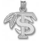 """Florida State Seminoles """"FS with Feather"""" 5/8"""" Pendant - Sterling Silver Jewelry"""