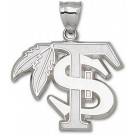 """Florida State Seminoles Giant 1 3/4"""" W x 1 1/2"""" H """"FS with Feather"""" Pendant - Sterling Silver Jewelry"""