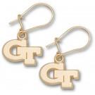 """Georgia Tech Yellow Jackets 3/8"""" """"GT"""" Dangle Earrings - 10KT Gold Jewelry"""