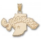 "Indiana State Sycamores ""Sycamores with Indiana Map"" Pendant - 10KT Gold Jewelry"