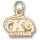 """Kent State Golden Flashes """"Kent State K with Eagle"""" Charm - Gold Plated Jewelry"""