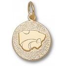 """Kansas State Wildcats """"Power Cat"""" Disk Charm - 14KT Gold Jewelry"""