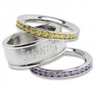 Los Angeles Lakers Logo Crystal Stacked Ring Set (Size 8)