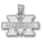 "Marshall Thundering Herd New ""M Marshall"" 7/16"" Pendant - Sterling Silver Jewelry"
