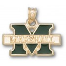 "Marshall Thundering Herd 7/16"" ""M Marshall"" Enamel Pendant - 10KT Gold Jewelry"