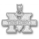 """Marshall Thundering Herd New """"M The Herd"""" 7/16"""" Pendant - Sterling Silver Jewelry"""