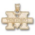 "Marshall Thundering Herd New ""M The Herd"" 7/16"" Pendant - 14KT Gold Jewelry"