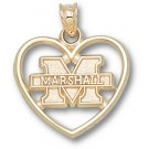 "Marshall Thundering Herd New ""M Marshall"" Heart Pendant - 14KT Gold Jewelry"