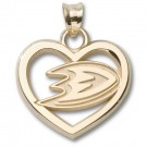 "Anaheim Ducks 5/8"" Pierced Heart with Foot Logo Pendant - Gold Plated Jewelry"