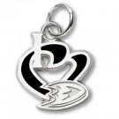 "Anaheim Ducks ""I Heart Foot"" Enameled Charm - Sterling Silver Jewelry"